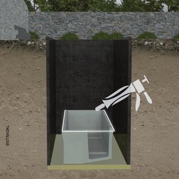 assurer l'étanchéité entre les éléments du caveau funéraire avec un joint sur toute la périphérie. Schéma STRADAL