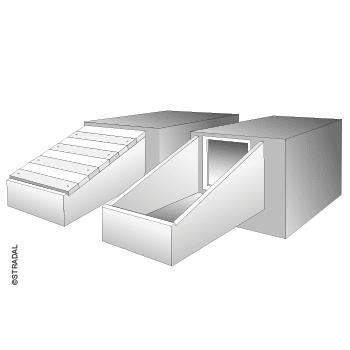 schéma de principe du SAS d'accès au caveau frontal sous allée, fermeture par dalettes