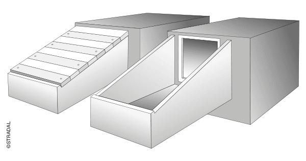 schéma de principe du SAS d'accès à pente pour caveau funéraire ouverture frontale. fermeture par dalettes