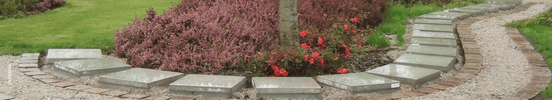 intégration de casurnes Stradal le long d'une allée du cimetière. Fabricant Stradal