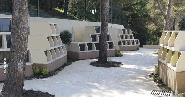 cimetière marin de Saint Tropez, columbarium Tempo. Fabrication Stradal
