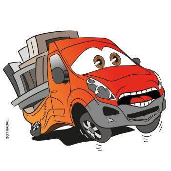 dessin d'un camion utilitaire chargé de produits funéraires. Stradal