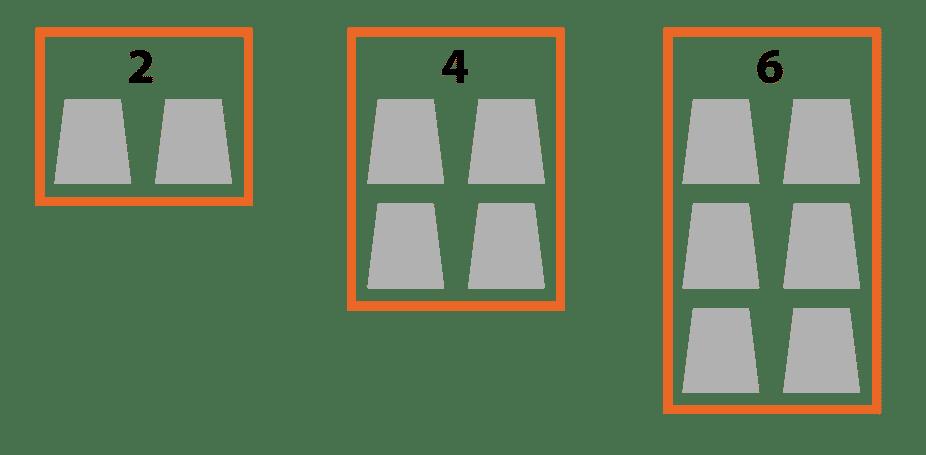 position des cercueils dans caveau double. Schéma Stradal