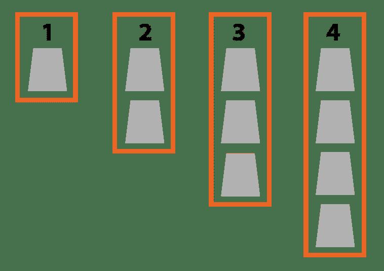 Position des cercueils dans un caveau funéraire simple. Schémas Stradal